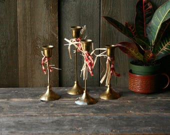 Set Of 4 Brass Candlestick Holders Tulip Candleholders Vintage From Nowvintage on Etsy