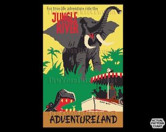 Vintage Jungle River Cross Stitch, Jungle Cruise Pattern, Vintage Disney Poster, Vintage Disney Cross Stitch by NewYorkNeedleworks
