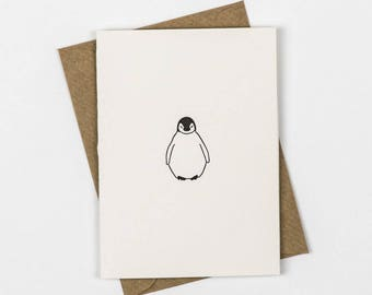New Baby Card - Baby Thank you cards - Baby Penguin cards - Note Cards - baby shower Thank you cards baby - Letterpress - Small note Card