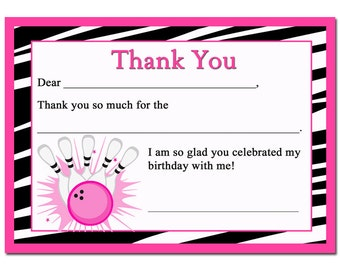 Bowling Thank You Note Printable - Instant Download - Fill In The Blank - Zebra Girl All-Star Bowling