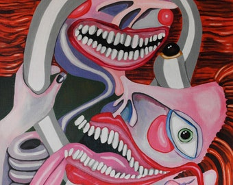 Control-Original Acrylic Painting 11x14 inches Fine Art Abstract Surreal Lowbrow Small Colorful Scary Funny