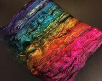 PAVONE: Ply-Partner Art Batt Set. Hand Carded Fiber for Spinning/Felting - Wool/Silk/Bamboo (5oz)