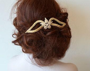 Wedding Hair Comb, Bridal Headpiece, Crystal  Bridal Hairpiece, Vintage Inspired Bridal Hairpiece, Hair Comb for Bride, Halo Headband