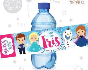 10 X Personalised FROZEN Elsa Anna, Olaf, Snowflake Birthday Party Water Bottle Label Stickers