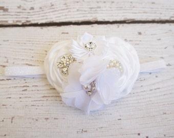 white christening headband, white baby headband, headbands, baby headband, baptism headband, flower girl headband, diamond headband, baby