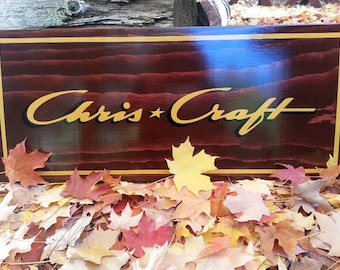 CHRIS CRAFT Boat Sign.  Classic Wooden Boat Sign, Vintage Boats.  Antique Chris Craft Boats.