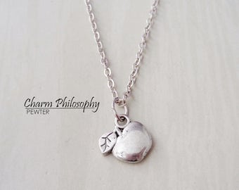 Silver Apple Necklace -  Teacher Gifts - Teacher Jewelry - Antique Silver Apple Jewellery