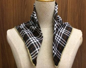 Vintage Burberry Square Scarf Checkered Print Handkerchief