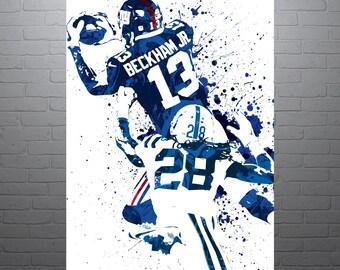 Odell Beckham Jr New York Giants Sports Art Print, Football Poster, Kids Decor, Watercolor Contemporary Abstract Drawing Print, Modern Art
