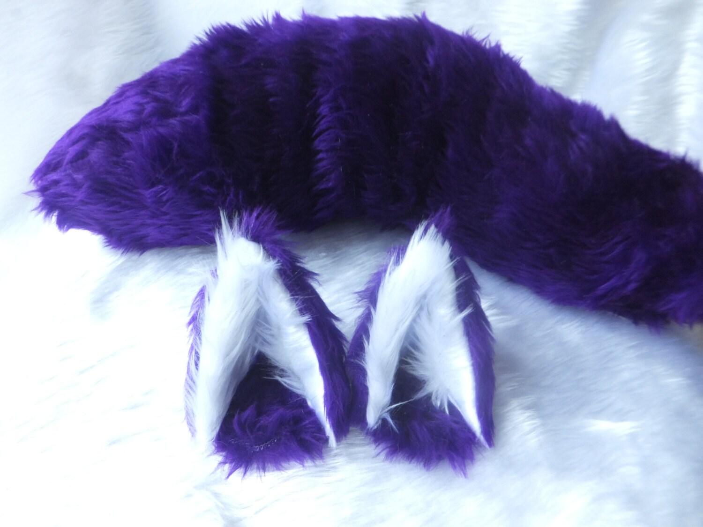 Verdrahtet oder Unwired lila Cosplay Wolf Set Ohren auf