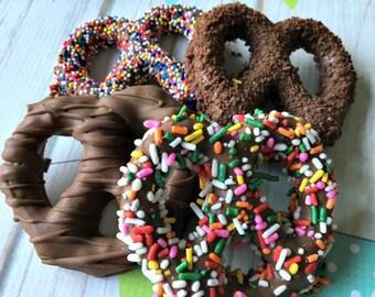 Gourmet Chocolate Pretzels - Chocolate Gift - Chocolate Covered Pretzel - Chocolate Dipped Pretzels - Birthday Chocolate Present - Chocolate