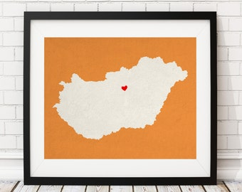 Custom Hungary Silhouette Print, Customized Country Map Art, Personalized Gift, Hungary Art, Hungary Print, Heart Map, Hungary Map, Love Map