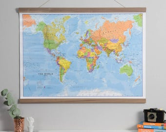 Antique world map home wall hanging push pin map living political world map poster home wall hanging map of the world push gumiabroncs Images