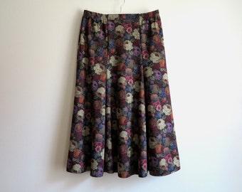 Black Red Khaki Skirt Floral Print Skirt Midi Bell Skirt English Roses Skirt  Elastic waist Skirt Large Size