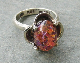 Sterling Silver Ring Vintage Dragons Breath Foiled Opal  Signed Size 7