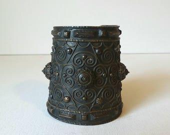 "Vintage Tribal Moroccan Cuff Bracelet 3"" wide ESTATE SALE"