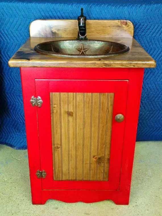 "Rustic Bathroom Vanity with sink - 25"" - Bathroom Vanities - Copper Sink - Red - Farmhouse Vanity - Includes sink and faucet - Made in Texas"