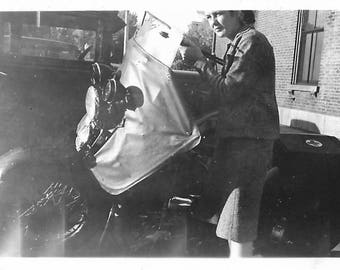 """Vintage Snapshot """"Independent Woman"""" 1940's Motorcycle Red Cross Insignia Found Vernacular Photo"""