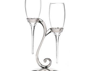 Raindrop - Wedding Flutes with Swirl Stand