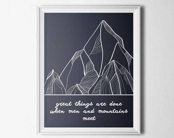 Mountains Poster, Motivational Poster, Printable Wall Art, Minimalist Art, Mountain Wall Art, Printable Quote, Quote Wall Art, Mountain Art