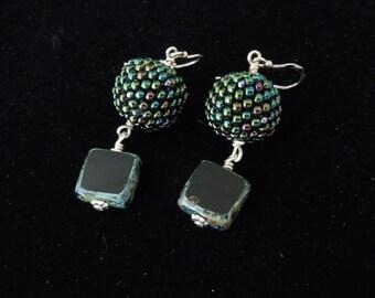 Green Beaded Earrings, Beaded Earrings, Silver Earrings, Seed Bead Earrings, Dangle Earrings, Casual Earrings, Evening Earrings,