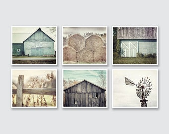 Shabby Chic Farmhouse Decor, Modern Farmhouse, Living Room Decor, Teal and Beige Rustic Farmhouse Set of 6 Prints or Canvas, Barn Pictures.