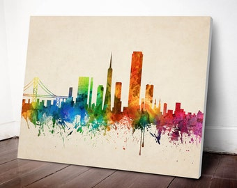 San Francisco Skyline Canvas Print, San Francisco Cityscape, San Francisco Art Print, Home Decor, Gift Idea, USCASF05C