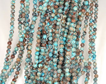 4MM Turquoise Calsilica Gemstones Turquois Blue Brown Round Loose Beads 16 inch Full Strand BULK LOT 1,2,6,12 and 50 (90113289-125A)