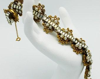 Vintage Miriam Haskell Bracelet Rhinestones Pearls Filagree