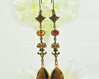 Victorian Style Crystal Earrings - Chocolate Brown Earrings- Crystal Drop Earrings- Boho Earrings- Gift for Her- Earring Gift- Jewelry Gift