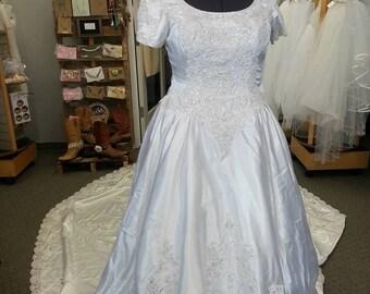 Vintage 1990s White Satin Beaded Ballgown Wedding Dress - Size 14