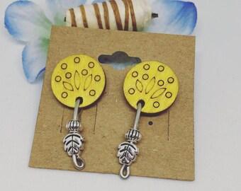 Yellow Silver Wire Earrings