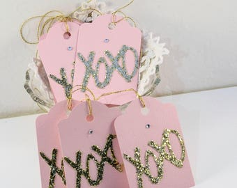 Gift Tags, XOXO Gift Tags, Pink and Gold Gift Tags, Wedding Favor Gift Tags,Custom Gift Tags, Anniversary Gift Tags, Set of 8, Ready to Ship