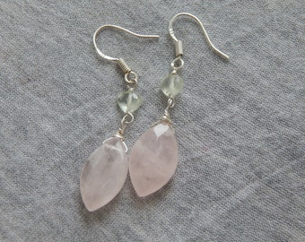 Rose Quartz and Prehnite Sterling Silver Earrings, Handmade, Gemstone Earrings