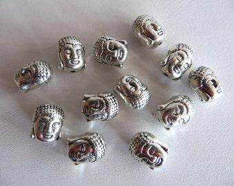12 pc Silver Buddha Beads-Metal Spacer Beads