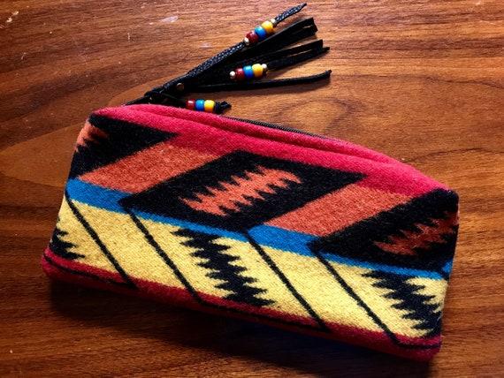 Wool Clutch Wallet Lined Scarlett Arrowpath Southwestern Tribal Handcrafted using Pendleton Woolen Mills Fabric