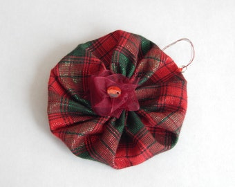 Tartan yo yo Christmas decoration.
