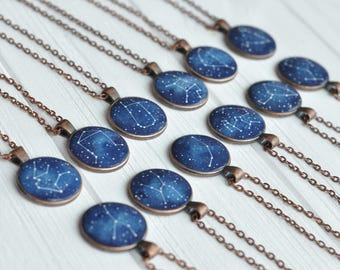 Zodiac necklace Astrology pendant Constellation Birth sign jewelry Personalized Black Friday Birthday Girlfriend Gift Mother