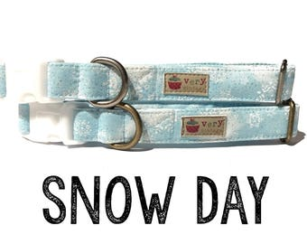 "Light Blue White Snowflakes Snow Winter Holiday Dog Collar - Organic Cotton Dog Collar - All Antique Metal Hardware - ""Snow Day"""