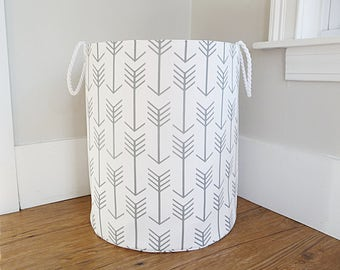 "Extra Large Hamper, Fabric Storage Laundry Basket, White and Grey Arrow Fabric Organizer, Toy or Nursery Basket, Storage Bin - 20"" Tall"