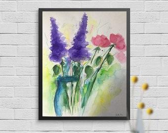 Original watercolor 11.8 x 15.7 inches (30 x 40 cm) bouquet picture art flowers painting flower painting