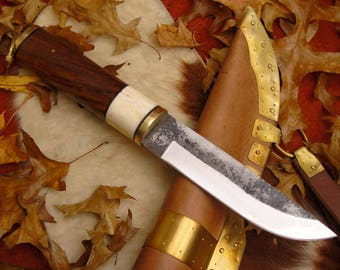 Viking Knife with leather/brass sheath hand forged carbon steel