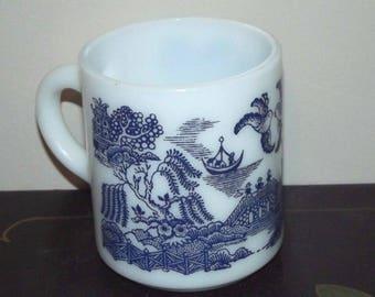 Hazel Atlas Milk Glass Wonderful Blue Willow Mug Coffee Cup Royal China Pattern