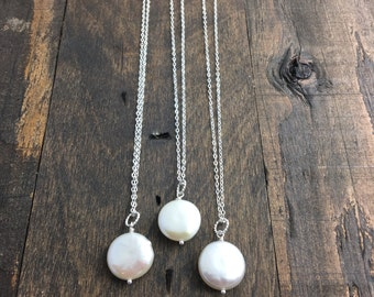 Bridal Party Necklaces - Set of Three - Coin Pearl Necklaces