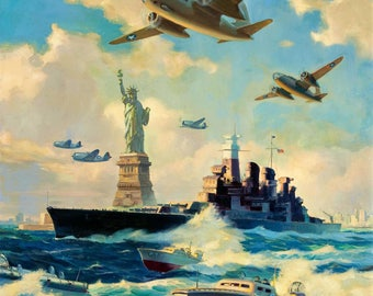 NYC New York WWII Statue of Liberty ORIGINAL Painting 20X24  1940s Recruitment Air Force, Navy, Marines Illustration Art Deco Recreation