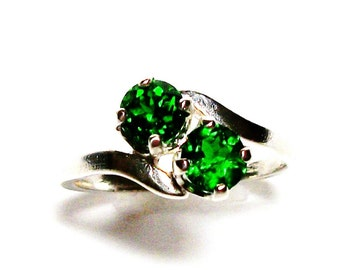 "Chrome diopside, chrome diopside ring, 2 stone ring, green ring, green gemstone, sweetheart ring,   s 6 3/4      ""Green eyed girl"""
