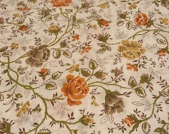 Vintage Floral Pillowcase Orange Yellow Green