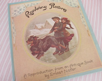 Vintage Revolving Pictures Book - Children's book, reproduction of antique victorian book, poems, art, dogs, cats, kids, copyright 1979