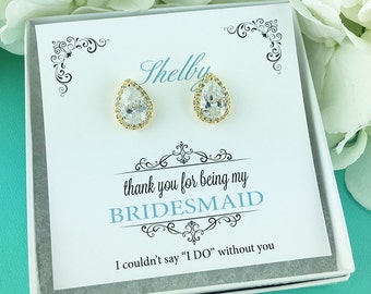 Bridesmaid Earrings Gold, Personalized Bridesmaids Gift, Bridesmaid Stud Earrings, Bridesmaids Gifts, Heather Gold Bridesmaids Earrings