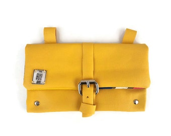 Saddle bike pouch yellow blue fauxleather, vegan bicycle bag vintage style, useful gift for cycling boyfriend, fixed retro bikes accessories